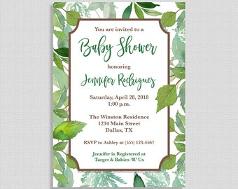 Green Baby Shower Invitation, Greenery Shower Invite, Leaves, Foliage, DIY PRINTABLE