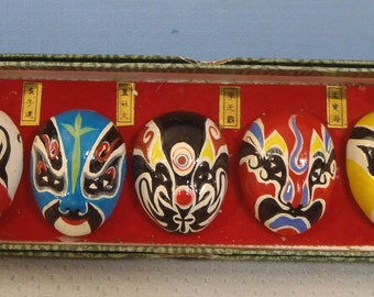 Chinese Beijing Opera Masks Hand Painted Set of 5