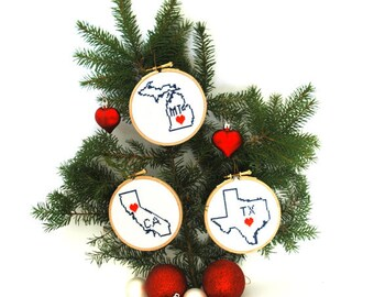USA state map ornaments. DIY Christmas tree ornaments. Choose your state ornament kit. Cross stitch kit state ornament