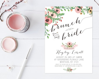 Bridal Shower Invitation, Floral Bridal Shower Invitation, Brunch Invitation, Bridal Shower Brunch, Brunch with the Bride Invitation [280]