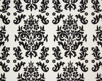 1970s Retro Vintage Wallpaper Black Flocked on White Contact Paper Peel & Stick by the Yard