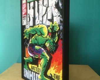Hulk comic book cover pop-out art.