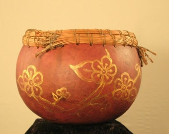 Asian-inspired Flower Gourd Bowl with Pine Needle Trim, Natural Home Decor