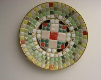 Mid Century Tile Mosaic Dish//Retro 1960s Craft Piece//Soap Dish//Trinket Dish//Ashtray//Accent Piece