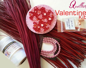 Pine Needle Basket Kit - Quilled VALENTINE HEART - Dyed Pine Needles -Beads - Thread - DIY Valentines Day Theme