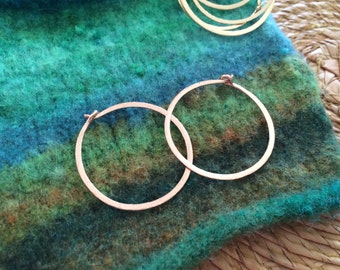 """Hammered Rose Gold Hoops Small 1"""" Classic Gold Hoop Earrings 14kt Rose Gold Fill Hoops Wire Jewelry Pink Gold Hoops"""