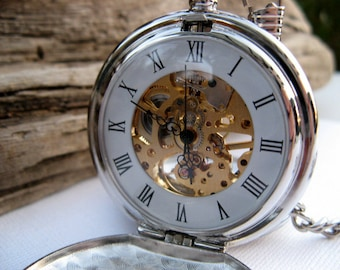 Engraved Silver Pocket Watch, Mechanical Watch, Double Cover, Engravable view window, Victorian Steampunk Era, Gift Boxed - Item MPW66