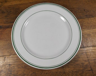 Sterling China Restaurant Ware 9 Inch Green Striped/Banded Plate Circa 1950