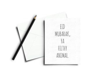 Eid Mubarak Cards / Eid Cards / Eid Gifts / Ya Filthy Animal / Islamic / Greeting Cards / Calligraphy / Islamic Calligraphy / Gifts / Ramad