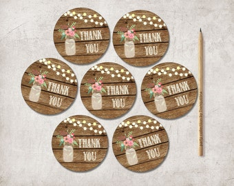 Thank you Tags Printable, Mason Jar Favor Tags, Rustic Thank you Tags, Printable Thank you tags, Thank you Stickers, Digital File
