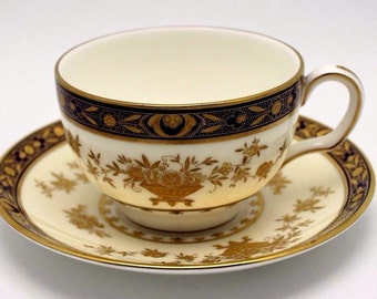 Minton Dynasty Cobalt Blue Cup & Saucer Bone China England (12 available)