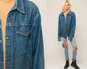 Denim Jacket Jean Jacket Blue Oversize 70s 80s Vintage Biker Oversized Button Up Hipster Medium Large