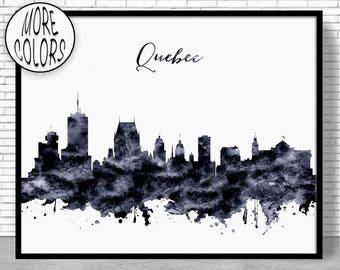 Quebec Print Quebec Skyline Quebec Canada Office Decor Office Art Watercolor Skyline Watercolor City Print ArtPrintZoneGift for Women