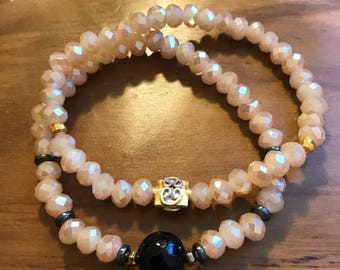Glass bead stack bracelet
