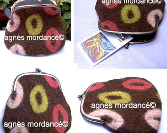 Small pouch, felted wool, antique-copper clasp