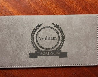 Personalized Grey Leather Check Book Cover