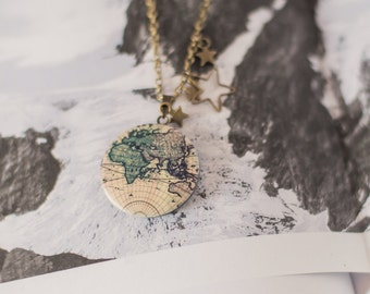 Around the World Map Locket, Travel Necklace, Traveller Gift, Globe Locket, Atlas Necklace