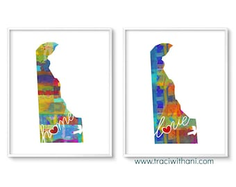 Delaware Love & Home: Instant Digital Download Watercolor Style Wall Art Print
