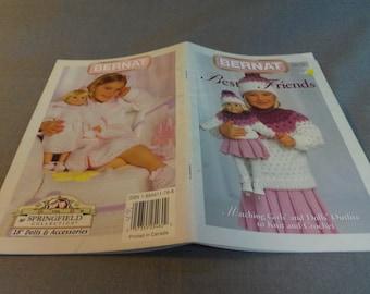 "Crochet and Knitting Patterns, Matching Girls and 18"" Doll Outfits, 4 Designs, Bernat 530112, 2003"