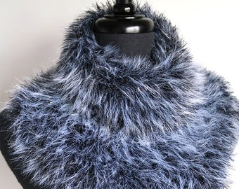 Gray Wolf Knitted Faux Fur Pelt Yarn Size Large Outlander Inspired Knitted Capelet Gray Color Cowl Infinity Scarf Collar