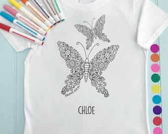 Personalised Girls Tee shirt to Colour in Butterfly Design Doodle Colouring in Art Fabric Pens T-Shirts Fun Activity for Kids