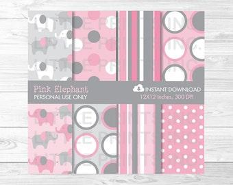 Pink Elephant Digital Paper / Elephant Baby Shower / Elephant Patterns / Pink & Grey / Polka Dot Stripe / PERSONAL USE Instant Download A334