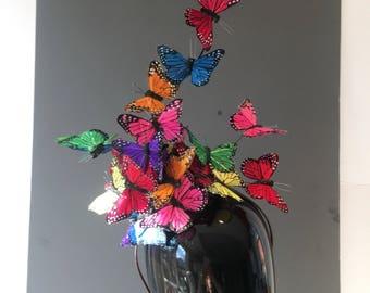 Butterfly Hat Fascinator- Derby Fascinator- Monarch Fascinator- Butterfly Headdress- Butterfly hat -Kentucky Derby- Derby Hat- Mad Hatter