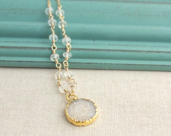 Moonstone White Druzy Gold Filled Necklace