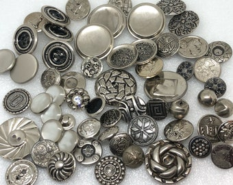 Silver Button Lot Antique and Vintage Metal Buttons White Metal Pewter Steel Cup Rhinestone Tint French Tight