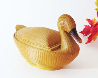 "WOVEN Rattan DUCK BASKET ~ Finely Hand-Woven w Wooden Beak & Tail / 14"" Long Bread Basket / Asian Storage Basket / Mid Century Decor"