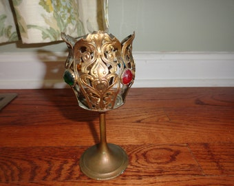 Brass Filigree Jeweled Candle Holder Fairy Lamp