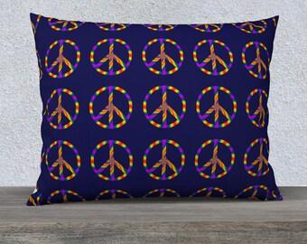 Rainbow Peace Sign 26x20 Pillow Case