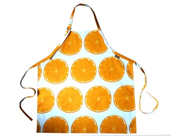 White Orange Slice Cotton Adult/Child Apron Hand Drawn Design