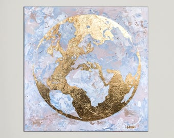 World map canvas world map wall art gold leaf painting map world map canvas art on canvas modern art map of the world gumiabroncs