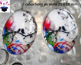 2 cabochons glass 25mm x 18mm bird theme