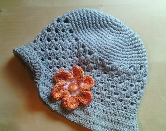 cotton crochet cloche Hat baby teal with flower and button-visor hat with visor-romantic-Hat