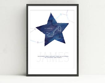 SCORPIO - Zodiac Horoscope Custom Child Baby Nursery Room Art STAR