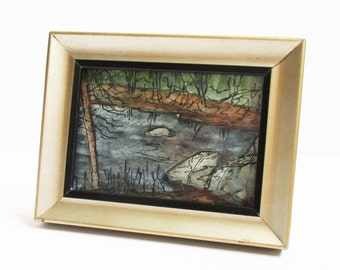 New Hampshire Framed Miniature Landscape Watercolor Painting Souhegan River 1 Milford NH ACEO Artist Trading Card Plein Air Art Miniature