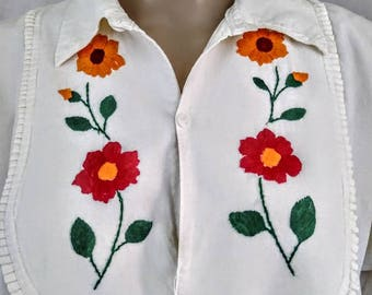 1970s Hippie Boho Embroidered Smock Tunic Top All Cotton