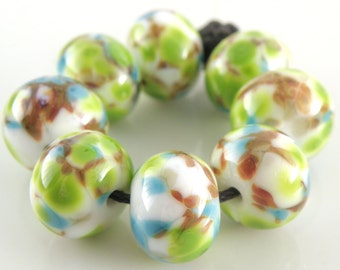 Microbiology SRA Lampwork Handmade Artisan Glass Donut/Round Beads Made to Order Set of 8 8x12mm