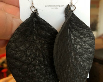 Handcut Leather Feather Earring ||  Black || Hypoallergenic