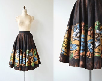 Tel-Art Mexican skirt | 1950s hand-painted skirt | cotton Mexican circle skirt