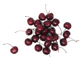 Artificial Lifelike Cherries Party Decoration, 1-Inch