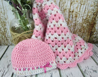 Crochet Baby Blanket with hat, pink and white crochet baby girl gift set, granny square blanket, nursery gift, baby shower gift