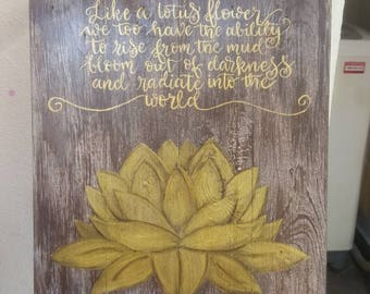 Gold Lotus Drawing, Wall Decor, Wall Art