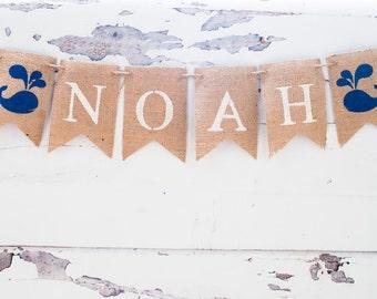 Whale Banner, Nautical Banner, Whale Name Banner, Nautical Name Banner, Nautical Baby Shower B070