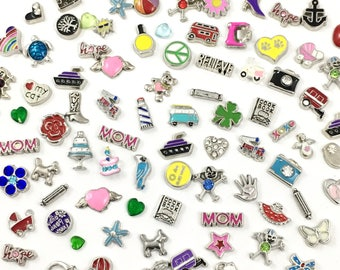BULK!  100 mixed floating charms for memory locket  # MIN CH 040