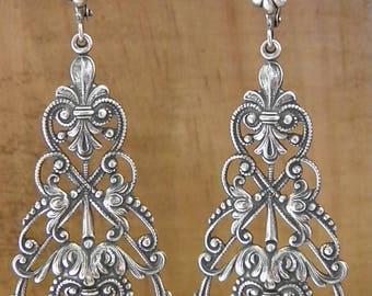 Stunning lace neo Victorian filigree silver metal chandelier earrings