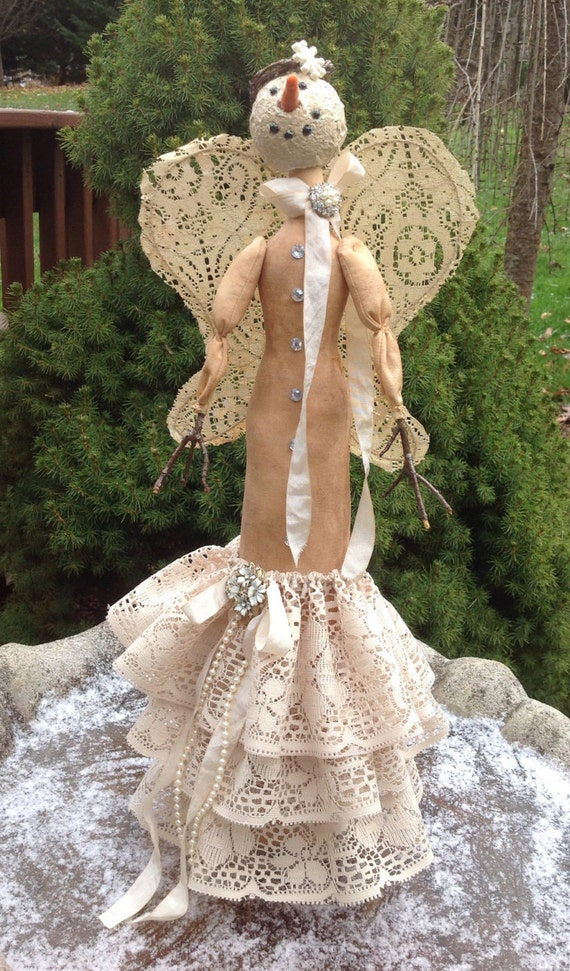 Iclynn OOAK Collectible Doll - Primitive muslin & lace Handmade collectible OOAK snow angel doll
