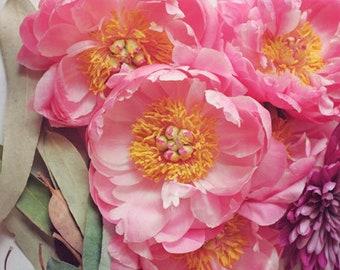 "Peony print - flower still life - pink bedroom wall art decor - floral wall art - flower photography - pink sage green wall art ""Peony 22"""